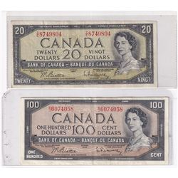 Estate Lot of 2x 1954 Modified Banknotes. Lot includes a $20 S/N: Z/E8749804 Fine, and a $100 B/J607