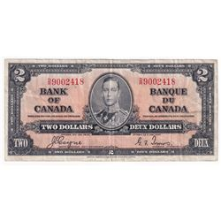 1937 Bank of Canada $2 Coyne-Towers S/N: D/R9002418 in F+ condition (small margin tear on bottom)