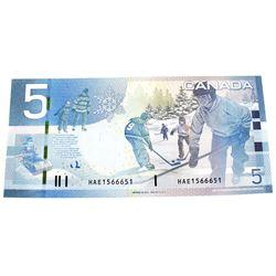 RADAR 2010 Bank of Canada $5, 3 Digit Radar Jenkins-Carney S/N: HAE1566651. Note in UNC