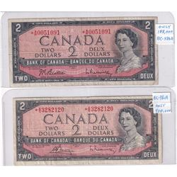 Pair of 1954 Bank of Canada Replacement $2 Modified, Lot includes *A/B0051091 & *A/G3282120.  2pcs