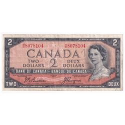 1954 Bank of Canada Devil's Face $2 Beattie-Coyne S/N: H/B8078104 in F-VF (small writing #7 on front