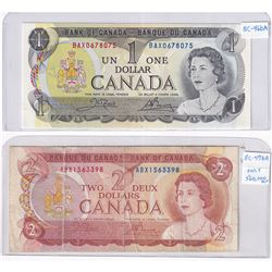 Pair of Replacement Banknotes. Lot includes a 1973 $1 BAX0678075 in UNC & 1974 $2 ABX1563398 in Circ