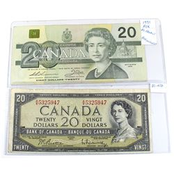 Lot of 2x Bank of Canada $20 Bills, 1x 1954 Modified S/N: A/W5325947 & 1991 AIX1021437 replaceme