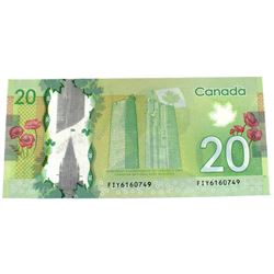 2012 Bank of Canada $20 With Wider Font on Last #9 Left Hand Side Serial Number. S/N: FIY6160749 Not