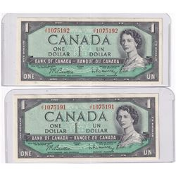 Pair of Sequential 1954 Bank of Canada $1 Modified Banknotes. Beattie-Rasminsky S/N: J/Y1075192/191.
