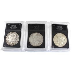 3x USA Silver Dollars 1904, 1924-S, & 1934. Average Circulated Condition (coins are .900 Fine and co