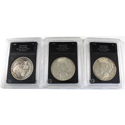 3x USA Silver Dollars 1900-O, 1922, & 1926-D. Average Circulated Condition (coins are .900 Fine and