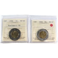 1998 & 2001 Canada Silver $2 ICCS Certified PF-68 Ultra Heavy Cameo. 2pcs.