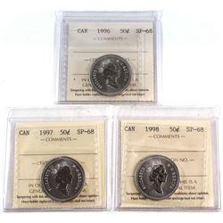 50-cent 1996, 1997, 1998 ICCS Certified SP-68 TOP GRADES! 3pcs.