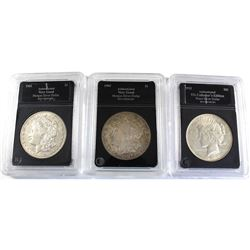 3x USA Silver Dollars. Lot includes a 1904-O, 1921-S, & 1922. All coins Average Circulated Condition