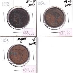 3x USA Large 1-cents. Lot includes 1852 VF-EF, 1854 VG-F, 1856 VF. All coins have some impairments.