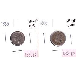 2x USA 3-cents. Lot includes 1865 VF-EF, & 1866 VF-EF All coins have some impairments.