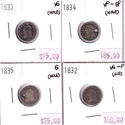 4x USA Silver 5-cents. Lot includes 1830 VG, 1832 VG-F, 1834 VF-EF, & 1835 G. All coins have been ho
