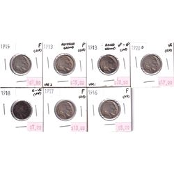 7x USA Indian Head 5-cents. Lot includes; 1913 Raised Ground, 1913 Recessed Ground, 1915, 1916, 1917