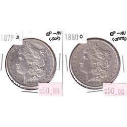 2x USA Morgan $1. Lot Includes 1879-S EF-AU & 1880-O EF-AU. Coins have some minor scratches.