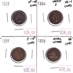 4x USA 1-cents. Lot includes 1863 VF-EF, 1864 Variety 2 VG-F, 1859 F-VF, & 1858 Small Letters VG. Co