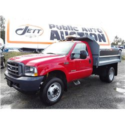 0C --  2003 FORD F450 SUPER DUTY DUMP TRUCK, RED, 254,125 KMS