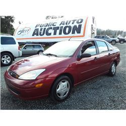 """A4 --  2001 FORD FOCUS  , Red , 231520  KM's """"NO RESERVE"""""""