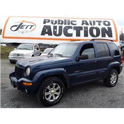 J5 -- 2003 JEEP LIBERTY LTD SUV, BLUE, 250,825 KMS