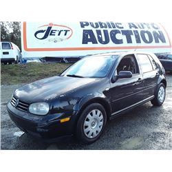 """A12B --  2003 VW GOLF TDI , Black , 350807  KM's """"NO RESERVE"""""""