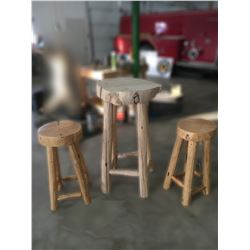 Rustic Pine Table and Stools