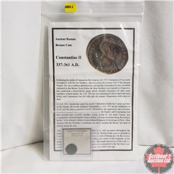Ancient Coin: 337-361AD, Roman Bronze Coin, Constantius II , Info Sheet