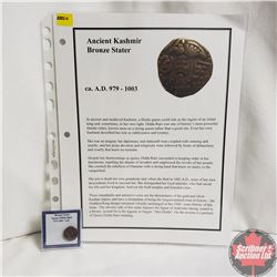 Ancient Coin: Circa 979-1003AD Kashmir Bronze Stater, Info Sheet