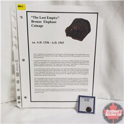 Ancient Coin: Circa 1336-1565AD  The Lost Empire  Bronze Elephant Coinage, Info Sheet