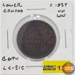 Lower Canada 1837 Un Sou Token
