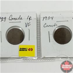 Canada One Cent - Strip of 2: 1929; 1934