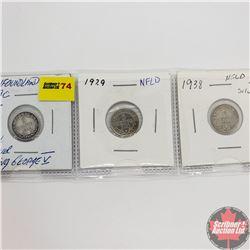 Newfoundland Five Cent - Strip of 3: 1919C; 1929; 1938