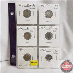 Newfoundland Five Cent - Strip of 6: 1940c; 1941c; 1942c; 1943c; 1944c; 1945c