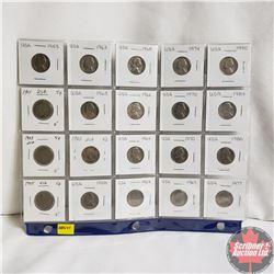 USA Nickels - Sheet of 20 - Various Years Ranging 1905 - 1990