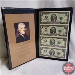 USA 4-Bill Uncut Sheet of Consecutive $2 Notes (COA 65994) Genuine Bankers Vault Portfolio