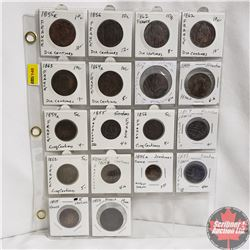 France 2, 5 & 10 Centimes Coins - Sheet of 18: 1855; 1856; 1862; 1862; 1863; 1864; 1854; 1898; 1854;