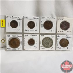 Mexico Coins 5, 10, 20, 50 Centavos & $1 Silver Peso - Sheet of 8: 1942; 1942; 1951; 1955; 1956; 195