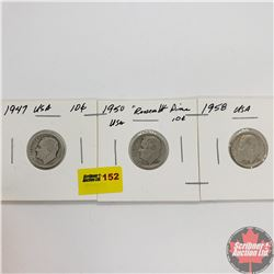 USA Dime - Strip of 3: 1947; 1950; 1958