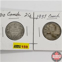 Canada Twenty Five Cent - Strip of 2: 1910; 1937