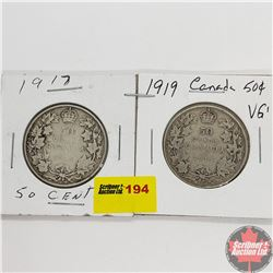 Canada Fifty Cent - Strip of 2: 1917; 1919