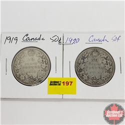 Canada Fifty Cent - Strip of 2: 1919; 1920
