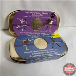 Stamp & 24k Gold Plated Medallion Sets : 2001 World Figure Skating Championships Pairs & 2001 World