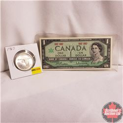 Canada 1967 Centennial One Dollar Pairing: $1 Bill No S/N# & One Dollar Coin