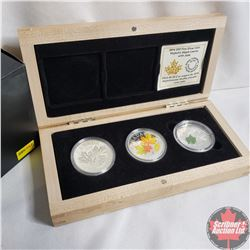 RCM 2014 Canada $20 Majestic Maple Leaf 3-coin Fine Silver Set in Deluxe Wooden Display Case. (Majes