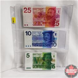 Dutch Gulden Notes - Sheet of 3: 1973 $5, 1968 $10 & 1971 $25