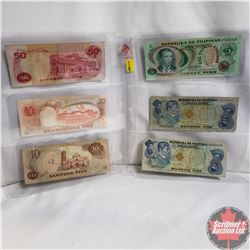 Philippines Piso Notes (1970's & 80's) - Sheet of 6: $2; $2; $5; $10; $20; $50