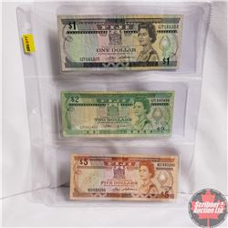Fiji Notes 1980's - Sheet of 3: $1; $2; $5