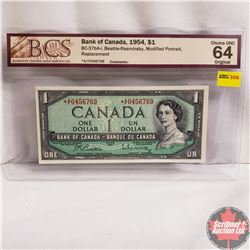Canada $1 Bill 1954* Replacement Note (Beattie/Rasminsky) *AF0456769 (BCS Grade : CHOICE UNC 64 Orig