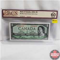 Canada $1 Bill 1954 Devil's Face (Coyne/Towers) DA7834237 (BCS Grade : UNC 60 Original)