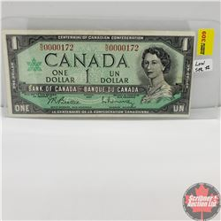 Canada $1 Bill 1967 (Beattie/Rasminsky) NO0000172 (Low Serial Number)