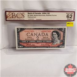 Canada $2 Bill 1954* Replacement Note (Beattie/Rasminsky) *AB0067920 (BCS Grade : CHOICE UNC 62 Orig